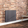 Milan 600 x 680 Horizontal Anthracite Double Panel Radiator profile small image view 1