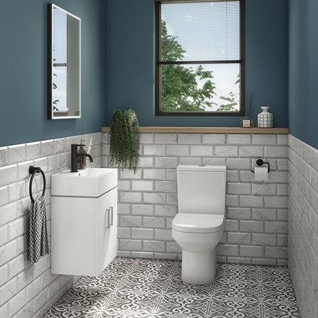 Nova Cloakroom Suite (Wall Hung Basin Unit + Close Coupled Toilet)