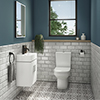 Nova Cloakroom Suite (Wall Hung Basin Unit + Close Coupled Toilet) profile small image view 1