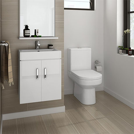 Nova Cloakroom Suite - Wall Hung Basin Unit + Close Coupled Toilet