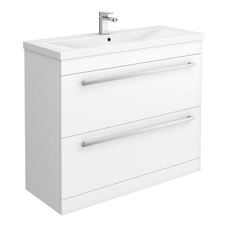 Nova 1000mm Mid-Edge Basin High Gloss White Vanity Unit
