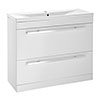 Nova 1000mm Mid-Edge Basin High Gloss White Vanity Unit profile small image view 1