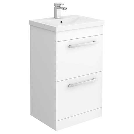 Nova 500mm Mid-Edge Basin High Gloss White Vanity Unit