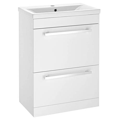 Nova 600mm Mid-Edge Basin High Gloss White Vanity Unit