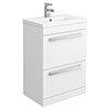 Nova 600mm Mid-Edge Basin High Gloss White Vanity Unit profile small image view 1