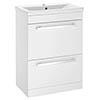 Nova 600mm Mid-Edge Basin High Gloss White Vanity Unit profile small image view 1