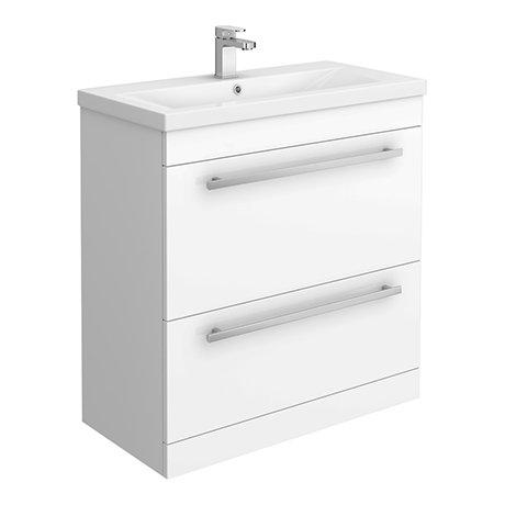 Nova 800mm Mid-Edge Basin High Gloss White Vanity Unit
