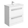 Nova 800mm Mid-Edge Basin High Gloss White Vanity Unit profile small image view 1