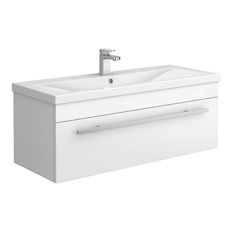 Nova 1000mm Mid-Edge Basin Wall Hung High Gloss White Vanity Unit