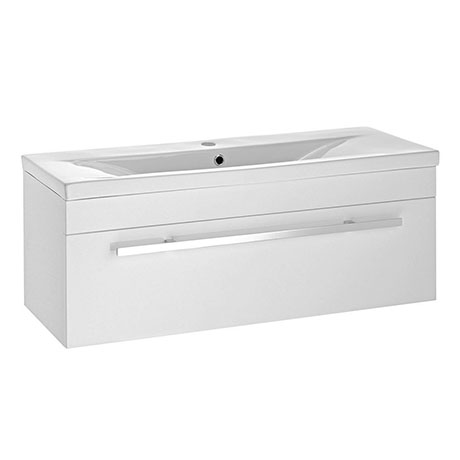 Nova 1000mm Mid-Edge Basin Wall Hung High Gloss White Vanity Unit