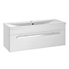 Nova 1000mm Mid-Edge Basin Wall Hung High Gloss White Vanity Unit profile small image view 1
