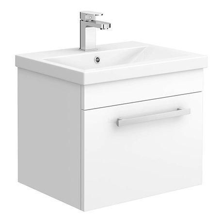 Nova 500mm Mid-Edge Basin Wall Hung High Gloss White Vanity Unit