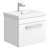 Nova 500mm Mid-Edge Basin Wall Hung High Gloss White Vanity Unit profile small image view 1