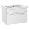 Nova 500mm Mid-Edge Basin Wall Hung High Gloss White Vanity Unit profile small image view 1