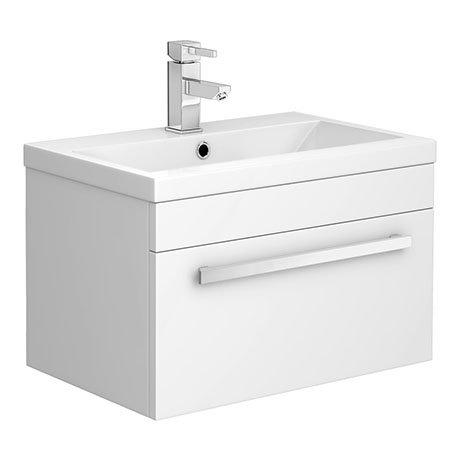 Nova 600mm Mid-Edge Basin Wall Hung High Gloss White Vanity Unit