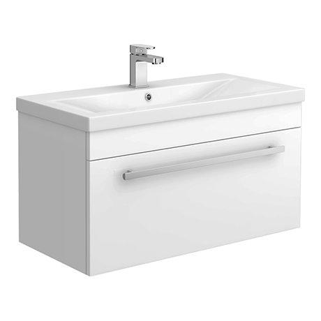 Nova 800mm Mid-Edge Basin Wall Hung High Gloss White Vanity Unit