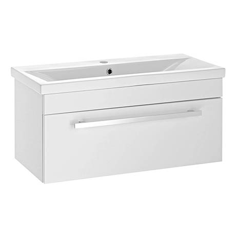 Nova 800mm Mid-Edge Basin Wall Hung High Gloss White Vanity Unit