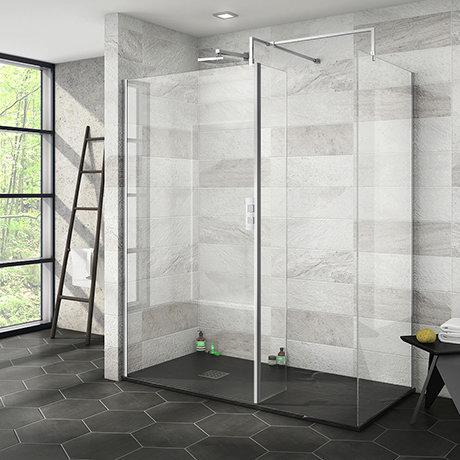 Nova 1600 x 800 Wet Room (Inc. Screen, Side Panel + Return Panel with Slate Effect Tray)