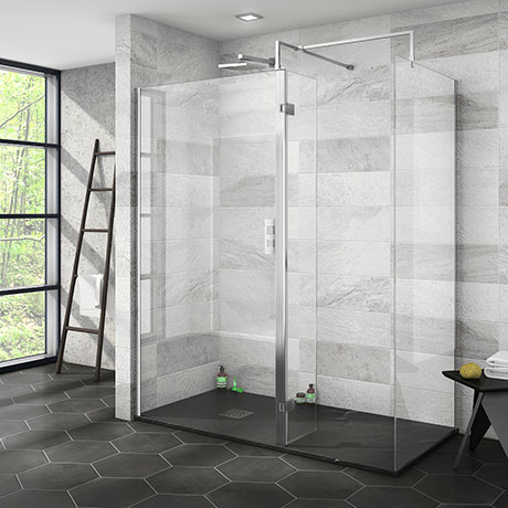 Nova 1600 x 800 Wet Room (Inc. Screen, Side Panel + Return Panel with Slate Effect Tray)