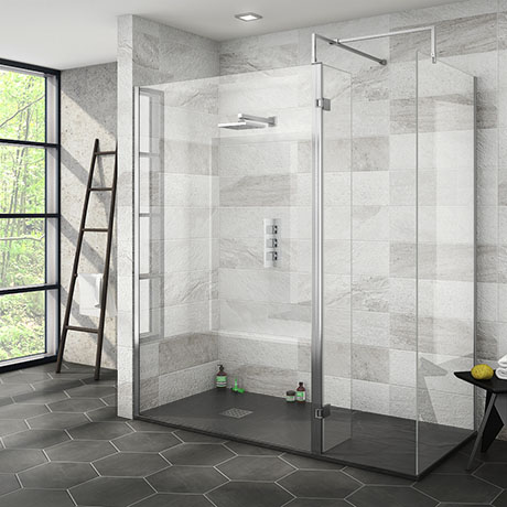 Nova 1700 x 800 Wet Room (Inc. Screen, Side Panel + Return Panel with Slate Tray)