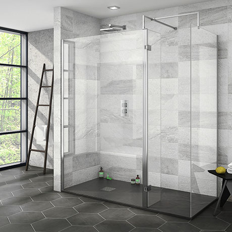 Nova 1700 x 800 Wet Room (Inc. Screen, Side Panel + Return Panel with Slate Tray)