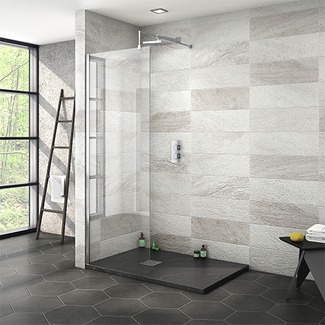 Nova 1200 x 800 Wet Room (700mm Screen + Slate Effect Tray)