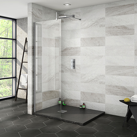 Nova 1200 x 900 Wet Room (700mm Screen + Slate Effect Tray)