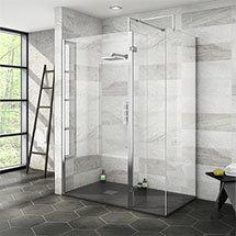 Nova 1400 x 800 Wet Room (Inc. Screen, Side Panel + Return Panel with Slate Effect Tray) Medium Imag