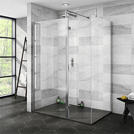 Nova 1400 x 900 Wet Room (Inc. Screen, Side Panel + Return Panel with Slate Effect Tray)