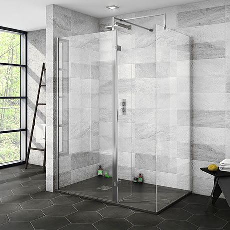 Nova 1400 x 900 Wet Room (Inc. Screen, Side Panel + Return Panel with Slate Effect Tray)