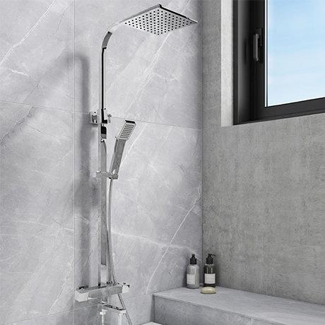 Nova Square Thermostatic Shower Kit with Bath Filler