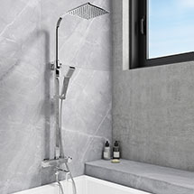 Nova Square Thermostatic Shower Kit with Bath Filler Medium Image