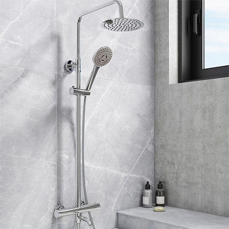 Nova Round Thermostatic Shower Kit with Bath Filler