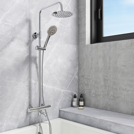 Nova Round Thermostatic Shower Kit with Bath Filler