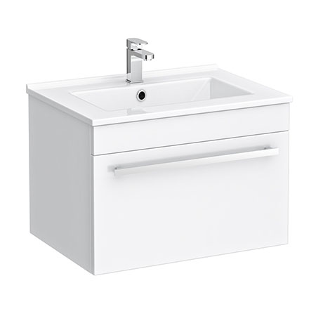 Nova 500mm Wall Hung Vanity Sink With Cabinet - Modern High Gloss White