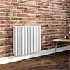 Milan 600 x 680 Horizontal White Double Panel Radiator profile small image view 1