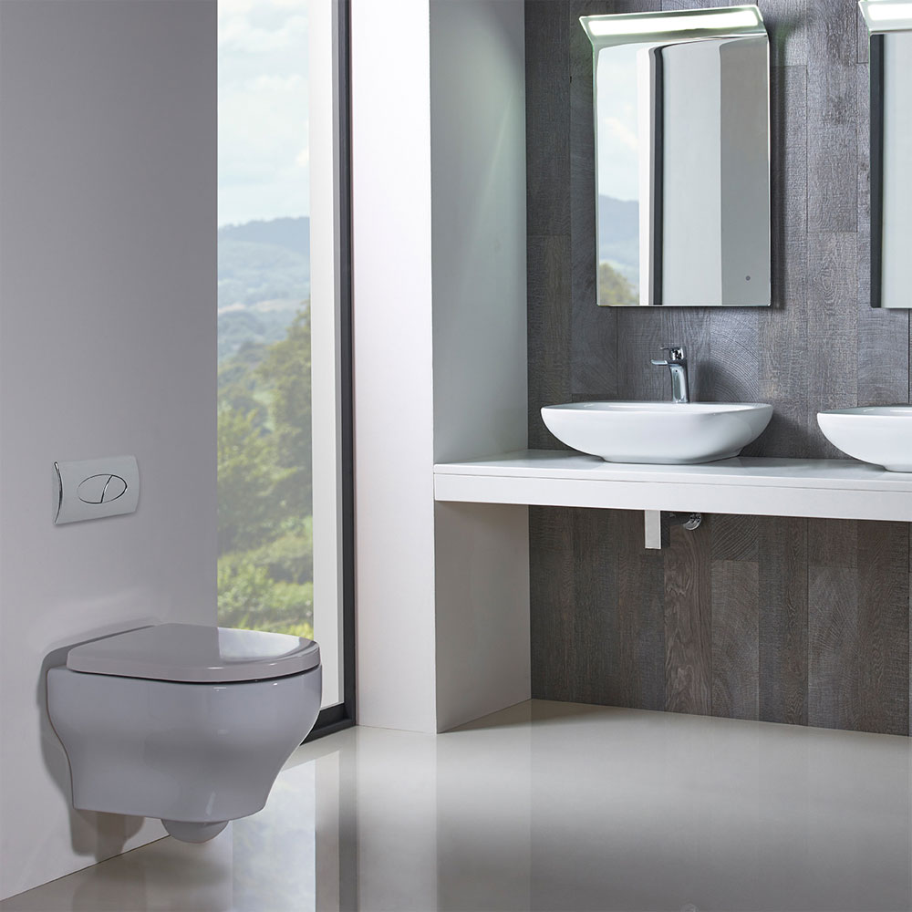 Roper Rhodes Note Wall Hung WC Pan & Soft Close Seat - NWHPAN-8704WSC - Image of wet room with wall hung toilet and vanity unit with double basins.