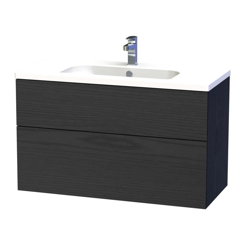 Miller - New York 100 Wall Hung Two Drawer Vanity Unit with Ceramic Basin - Black profile large image view 1