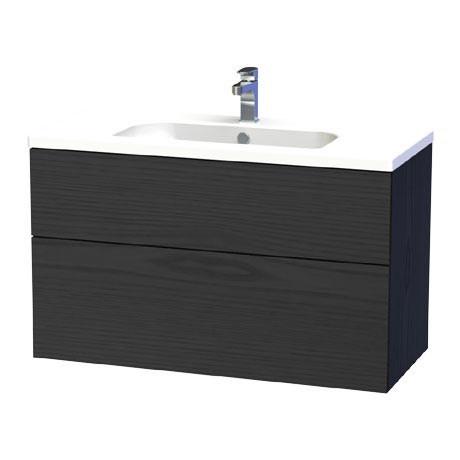 Miller - New York 100 Wall Hung Two Drawer Vanity Unit with Ceramic Basin - Black