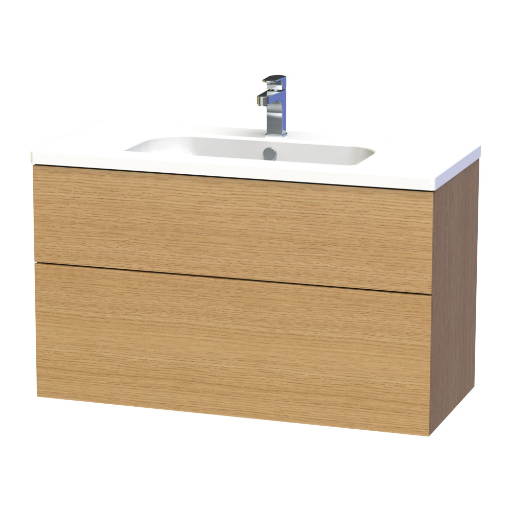 Miller - New York 100 Wall Hung Two Drawer Vanity Unit with Ceramic Basin - Oak Large Image