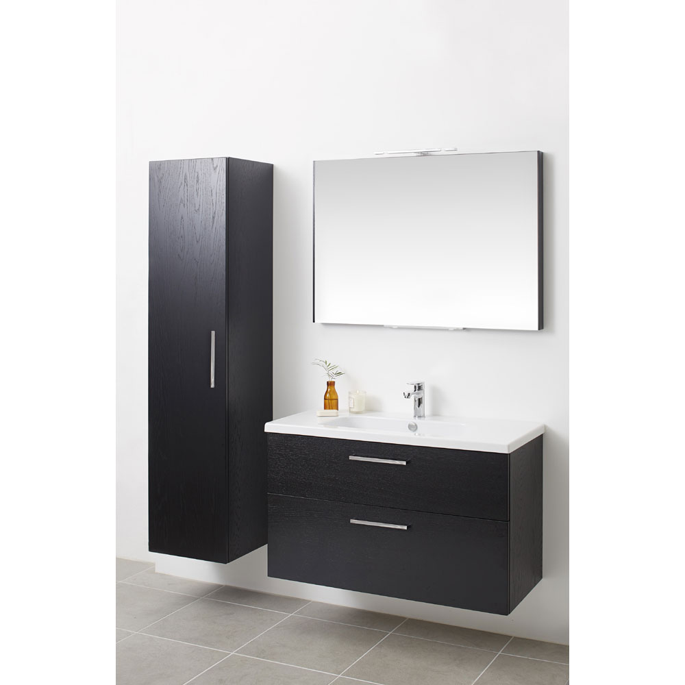 Miller - New York 100 Wall Hung Two Drawer Vanity Unit with Ceramic Basin - Oak Newest Large Image