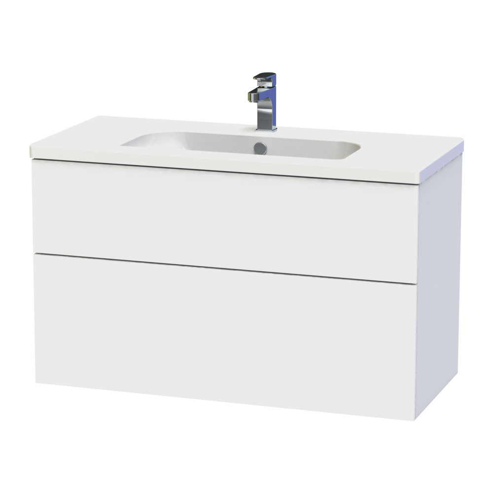 Miller - New York 100 Wall Hung Two Drawer Vanity Unit with Ceramic Basin - White