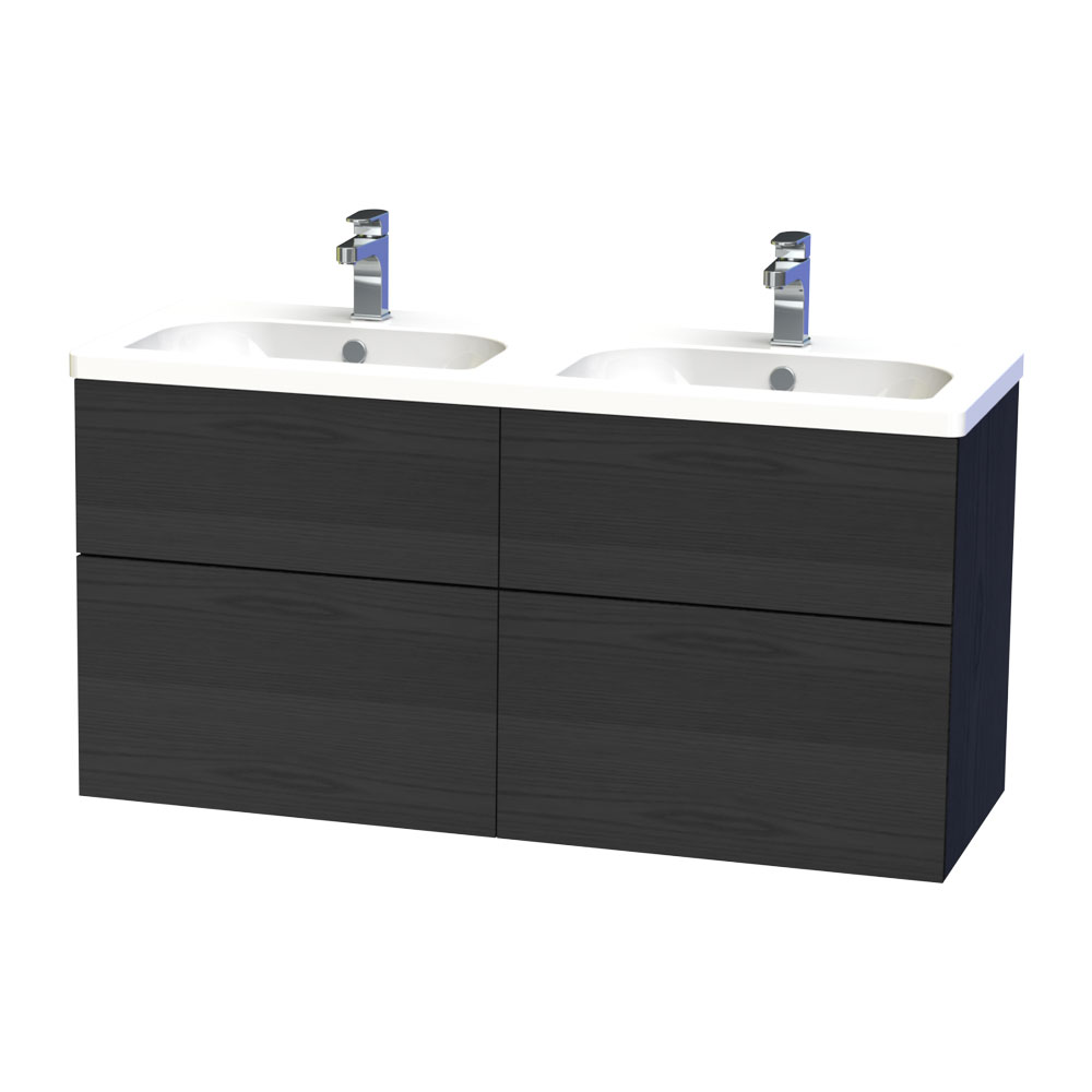 Miller - New York 120 Wall Hung Four Drawer Vanity Unit with Double Ceramic Basin - Black profile large image view 1