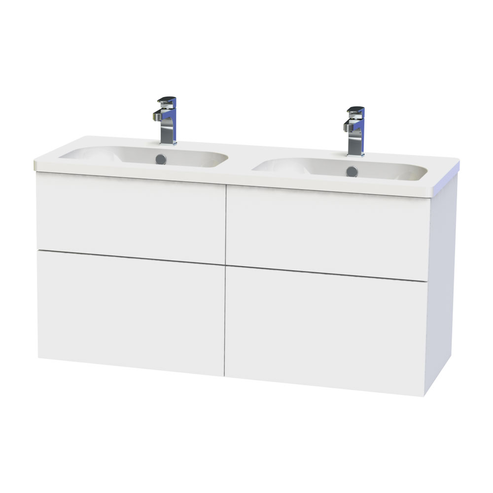 Miller - New York 120 Wall Hung Four Drawer Vanity Unit with Double Ceramic Basin - White Large Image