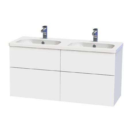 Miller - New York 120 Wall Hung Four Drawer Vanity Unit with Double Ceramic Basin - White