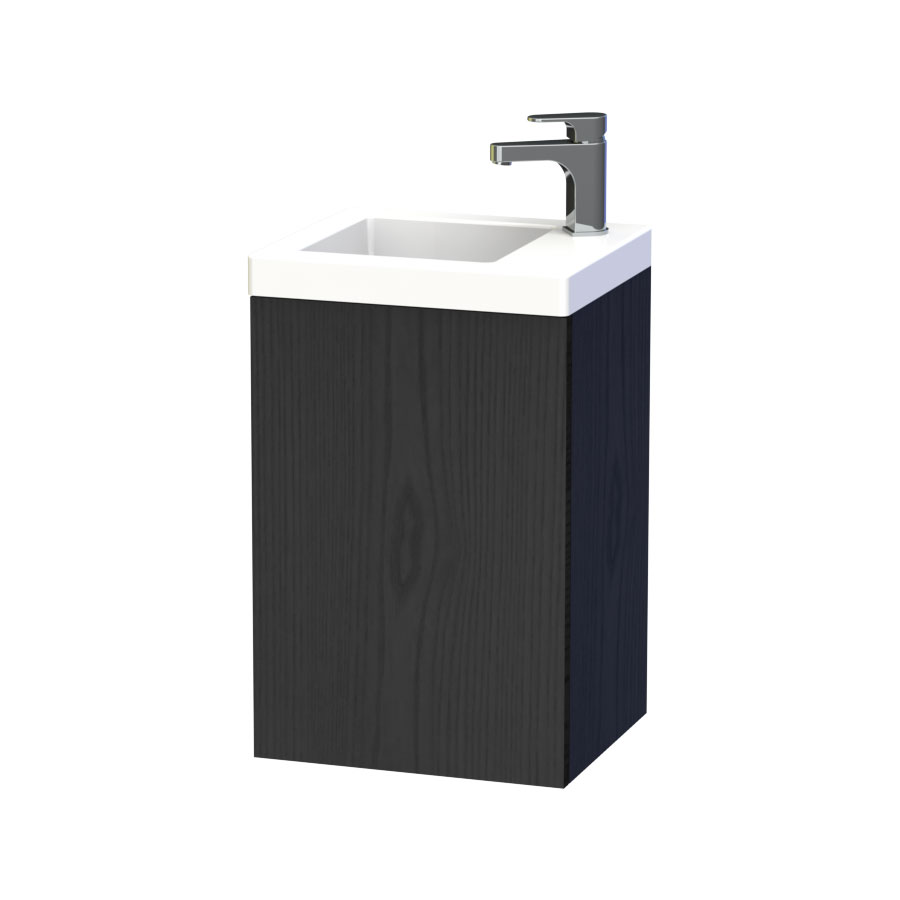 Miller - New York 40 Wall Hung Single Door Vanity Unit with Ceramic Basin - Black Large Image