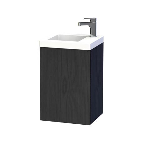 Miller - New York 40 Wall Hung Single Door Vanity Unit with Ceramic Basin - Black