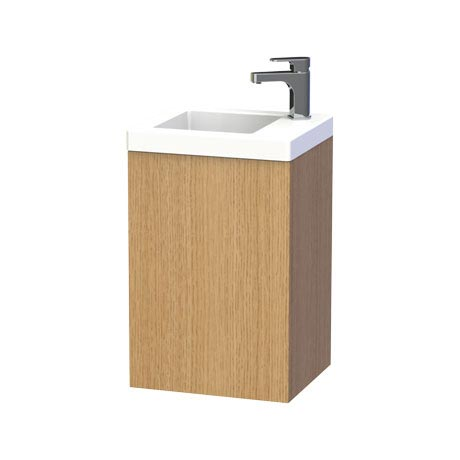 Miller - New York 40 Wall Hung Single Door Vanity Unit with Ceramic Basin - Oak