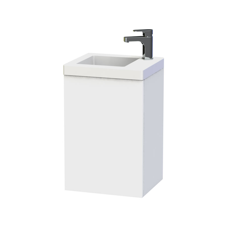 Miller - New York 40 Wall Hung Single Door Vanity Unit with Ceramic Basin - White Large Image