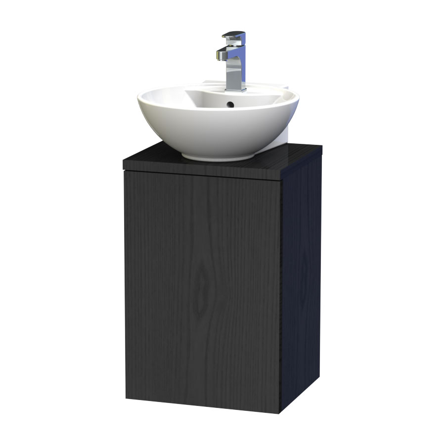 Miller - New York 40 Wall Hung Single Door Vanity Unit with Worktop & Ceramic Basin - Black Large Image